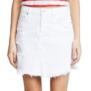 7 For All Mankind White Denim Skirt